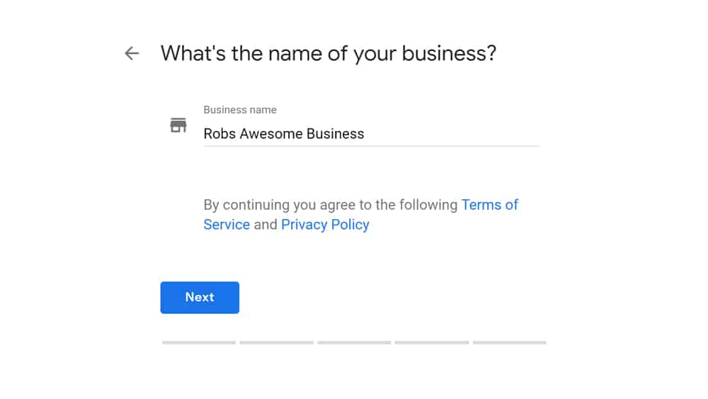 Google My Business - Enter your business name and Details